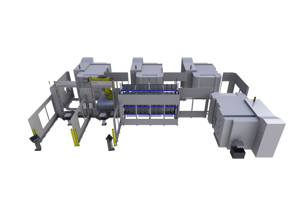 Integrate any 5-axis machines with zero-point or no pallets into one factory automation system along with washing, marking, measuring and other processes.