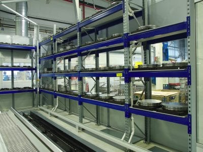 One of the integral parts of the RoboFMS is a storage unit for blanks, semi-finished parts and finished parts. If enough material is available, the system can produce autonomously for a long period of time.